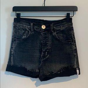 One Teaspoon Harlets Cuffed Denim High Rose Shorts